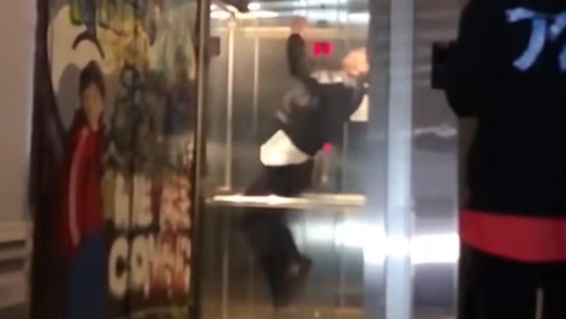 VIDEO: Un salto mortal hacia atrás en un ascensor termina de manera imprevista