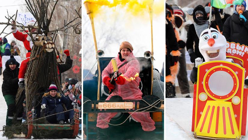 Barco pirata, trono o campo de fútbol: Rusia acoge un pintoresco festival de trineos improvisados