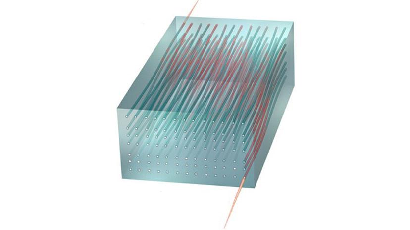 Ilustración del paso de la luz a través de una matriz bidimensional de guía de ondas. La luz que fluye a través del dispositivo se comporta de acuerdo con las predicciones del efecto Hall cuántico. / Rechtsman laboratory / Penn State University
