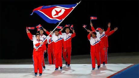 El equipo norcoreano en los Juegos Asiáticos de Invierno, el 19 de febrero de 2017.