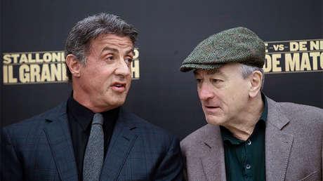 Sylvester Stallone y Robert De Niro en Roma, Italia, el 7 de enero de 2014.
