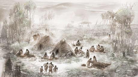 Ilustración científica de Eric S. Carlson, en colaboración con Ben Potter, del campamento Upward Sun River, en lo que hoy es Interior Alaska.