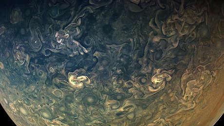 Atmósfera de Júpiter desde la nave espacial Juno, 16 de diciembre de 2017.