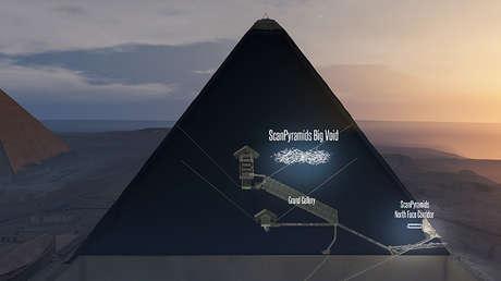 Imagen generada por ordenador que muestra la cavidad vacía y la Gran Galería de la Gran Pirámide de Guiza, Egipto.
