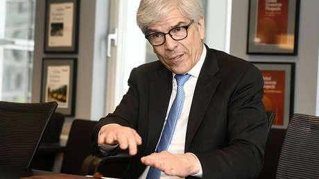 El economista en jefe del Banco Mundial, Paul Romer, durante una reunión con el ministro de Finanzas belga, Washington, el 21 de abril de 2017.