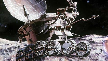 Obra 'El 'rover' lunar 2 conoce el Sol', del pintor ruso Andréi Sokolov.