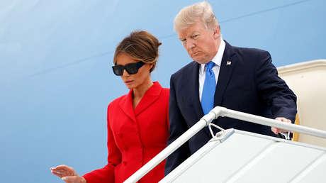 Donald y Melania Trump a su llegada al aeropuerto de París-Orly (Francia), el 13 de julio de 2017.