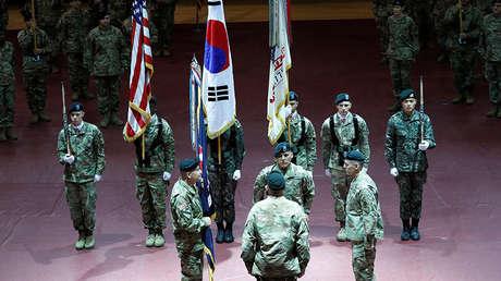 Militares estadounidenses en la base militar de EE.UU. Camp Humphreys, ubicada en Pyongtaek, Corea del Sur, el 5 de enero de 2018.