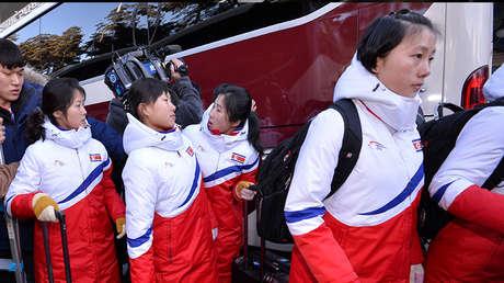 Las jugadoras norcoreanas de hockey sobre hielo. Imagen ilustrativa.
