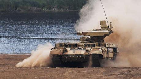 El carro ruso de soporte para tanques 'Terminator'.