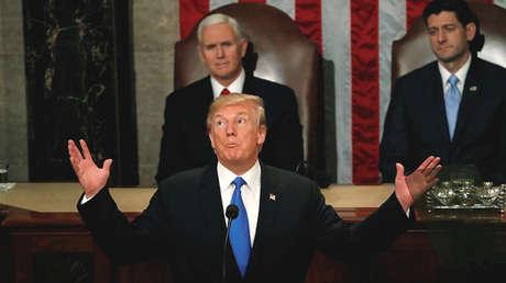 El presidente de EE.UU., Donald Trump, durante su primer discurso oficial del Estado de la Unión. 30 de enero de 2018.