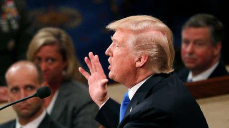 El presidente de los Estados Unidos, Donald Trump, pronuncia su discurso en el Congreso de los Estados Unidos en Capitol Hill, Washington, EE.UU., el 30 de enero de 2018.