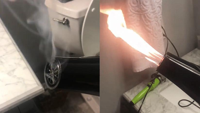"""VIDEO: Una estadounidense filma su secador de pelo """"profesional"""" lanzando llamas"""