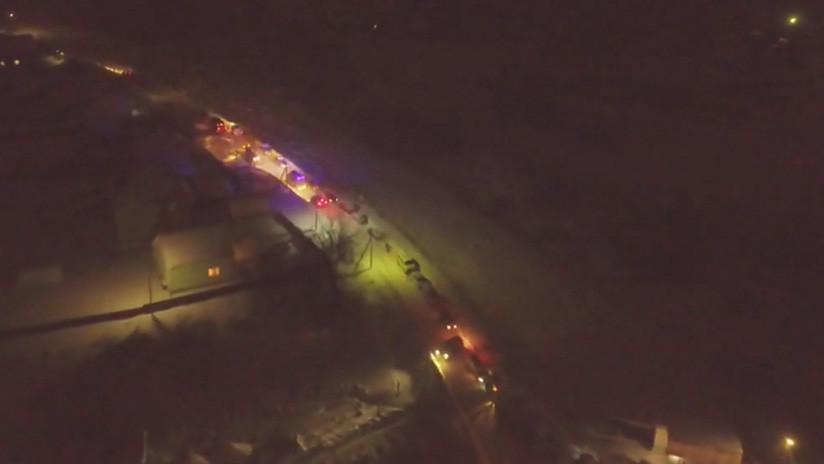 VIDEO: El lugar del siniestro del An-148 ruso, a vuelo de dron