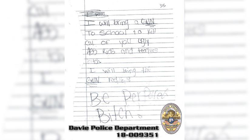 """""""Prepárense"""": Niña de 11 años de EE.UU. amenaza con disparar a sus compañeros de clase y maestros"""