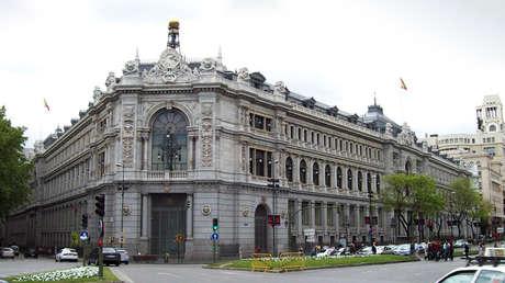Vista de la sede central del Banco de España (Madrid) desde la Plaza de Cibeles.