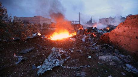 Restos del avión ruso Su-25 derribado en la provincia de Idlib. Siria, 3 de febrero de 2018.