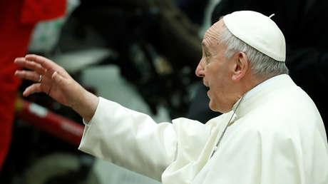 El Papa Francisco durante una Audiencia especial con miembros de la Cruz Roja Italiana en el Salón Pablo VI en el Vaticano, el 27 de enero de 2018.