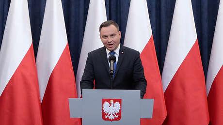 El presidente de Polonia, Andrzej Duda, durante su anuncio sobre la aprobación de la ley sobre el Holocausto, el 6 de febrero de 2018.