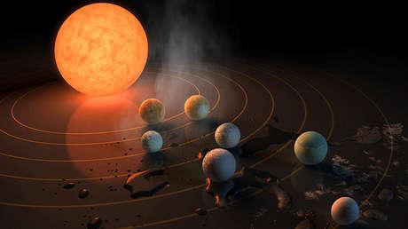 Representación artística del sistema solar TRAPPIST-1.