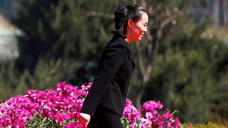 Kim Yo-jong, hermana del líder norcoreano Kim Jong-un, en Pionyang, Corea del Norte, el 13 de abril de 2017.