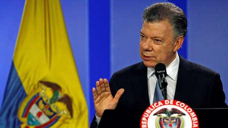 El presidente de Colombia, Juan Manuel Santos, habla durante una conferencia de prensa conjunta en Bogotá, Colombia, el 6 de febrero de 2018.