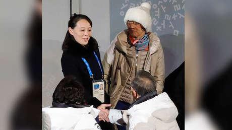 La hermana de Kim Jong-un, Kim Yo-jong, y el presidente surcoreano Moon Jae-in en Pyeongchang