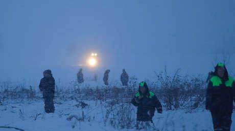 Servicios de emergencia en el lugar del siniestro del An-148 en la región de Moscú, el 11 de febrero de 2018.