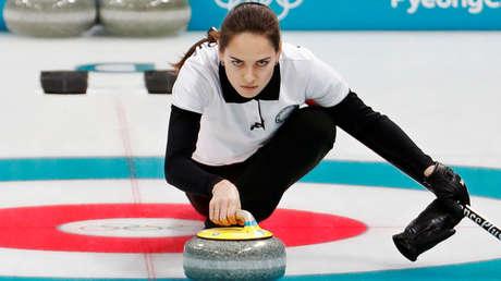 La atleta olímpica rusa, Anastasía Bryzgálova durante las olimpiadas de invierno Pyeongchang 2018, 10 de febrero de 2018.