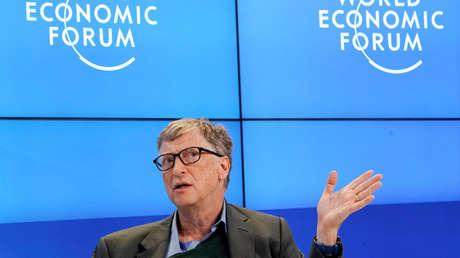 Bill Gates en el Foro Económico Mundial, Davos, Suiza, 25 de enero de 2018.