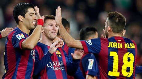 Luis Suárez, Lionel Messi y Jordi Alba, jugadores del FC Barcelona.