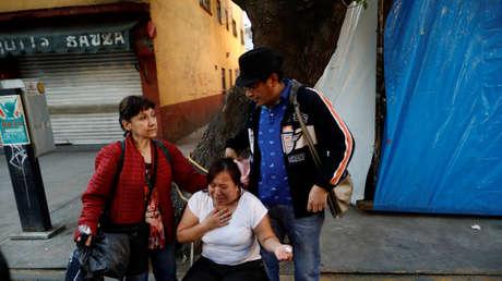Reacción de vecinos de la Ciudad de México después del sismo del 16 de febrero de 2018.