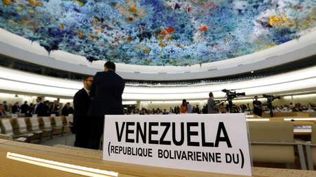 Cartel con el nombre de Venezuela en el Consejo de Derechos Humanos de la ONU. Ginebra (Suiza), 11 de septiembre de 2017.