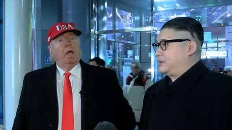 Los dobles de Donald Trump y Kim Jong-un, Pyeongchang, Corea del Sur.