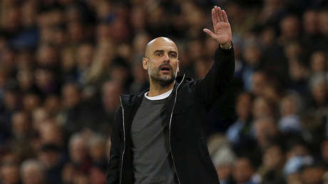 El entrenador de Manchester City, Pep Guardiola, en el estadio Etihad de la ciudad inglesa de Mánchester, el 10 de febrero de 2018.