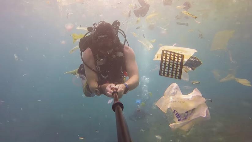 Un mar de plástico: Un buceador revela qué 'regalos' invaden las aguas de Bali (VIDEO)