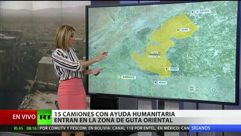 15 camiones con ayuda humanitaria entran en la zona de Guta Oriental