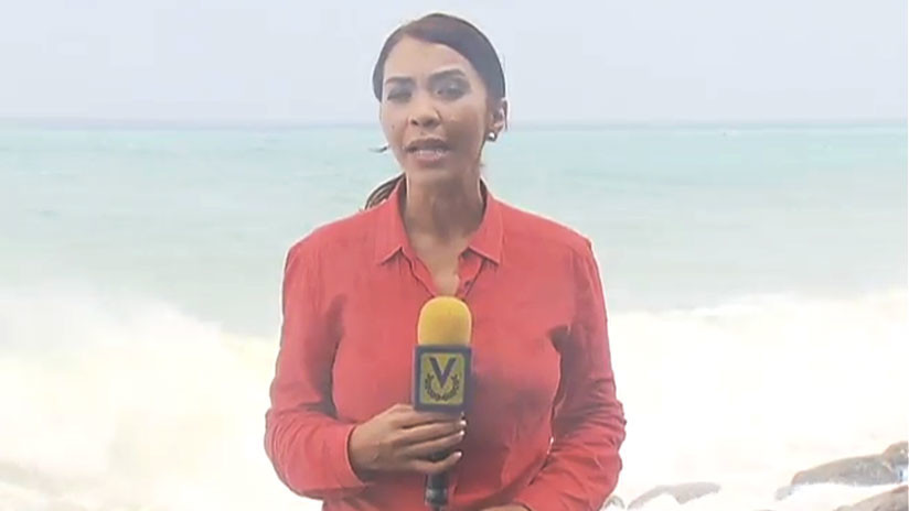 VIDEO: Una periodista venezolana informaba en directo de un temporal, cuando ocurrió esto