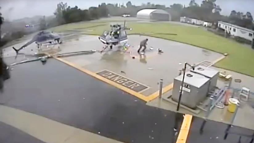 VIDEO: Sobreviven a una violenta colisión de helicópteros y salen como si nada