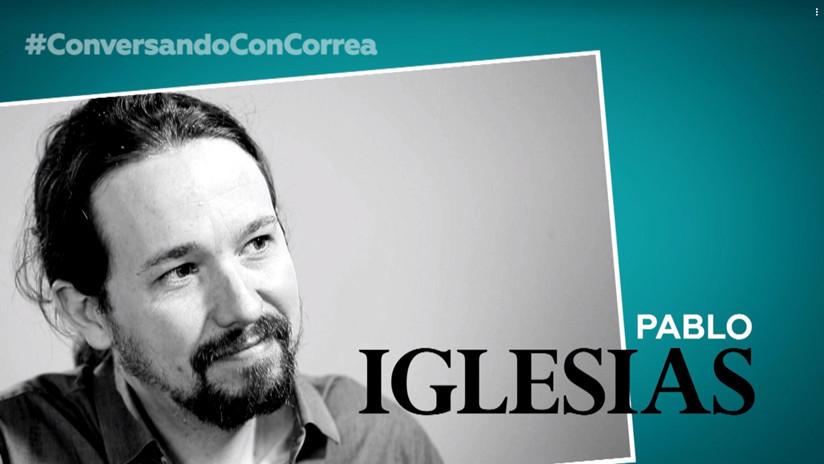 """Pablo Iglesias a Correa: """"Es escandaloso lo que dicen algunos medios privados en América Latina"""""""