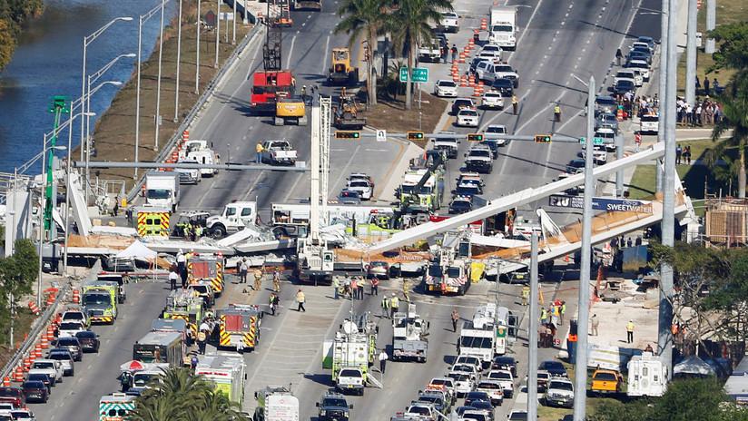 VIDEO: El momento exacto del derrumbe del puente peatonal en Miami