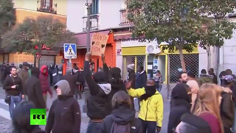 Protesta en Madrid tras la muerte de un vendedor ambulante senegalés