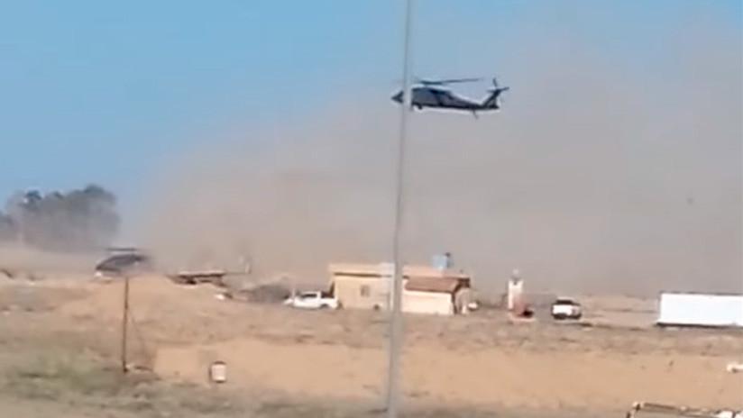 Graban cómo EE.UU. despliega helicópteros en su base en Siria en el mayor campo petrolero del país