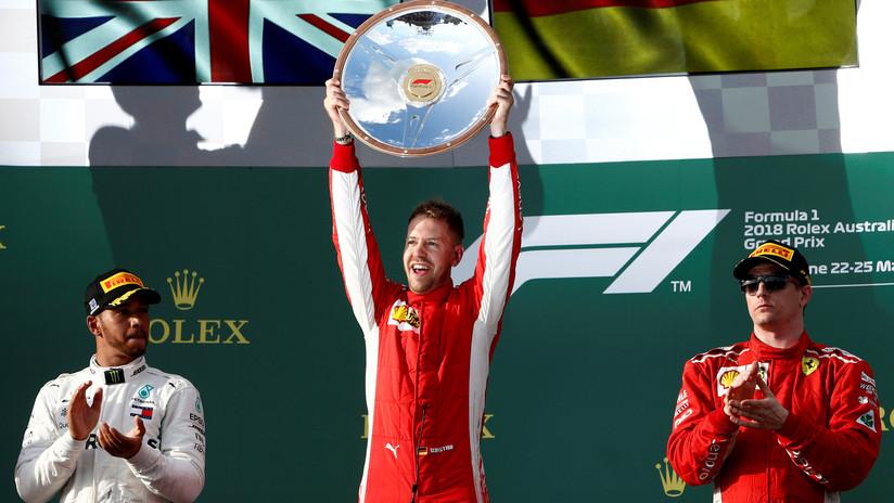 El piloto de Ferrari Sebastian Vettel gana el primer Gran Premio de Fórmula 1 de la temporada