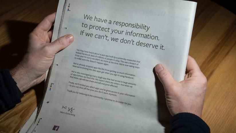 Zuckerberg pide disculpas en anuncios a página completa en diarios británicos