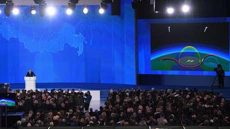 El presidente ruso, Vladímir Putin, durante su mensaje anual dirigido al Parlamento ruso.