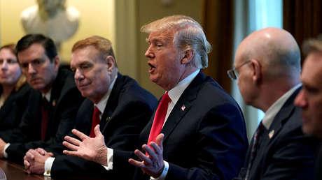 Trump el día que anunció la imposición de los aranceles, en la Casa Blanca, EE.UU., 1 de marzo de 2018.