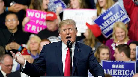 El presidente de EE.UU., Donald Trump, durante un mitin en Moon Township, Pensilvania, EE.UU., el 10 de marzo de 2018.