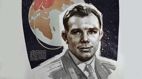 Reproducción del cartel 'El hombre soviético en el espacio'.