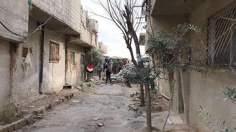 Campamento de refugiados en el área del corredor humanitario Muhayam al-Wafidin, entre Damasco y Guta Oriental, Siria, el 24 de febrero de 2018.